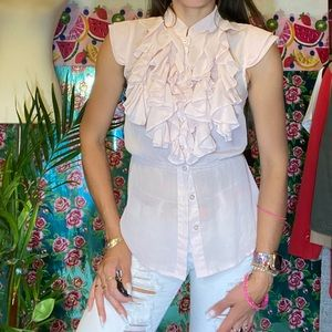 Charlotte Russe Ruffle Victorian Neck Pink sheer